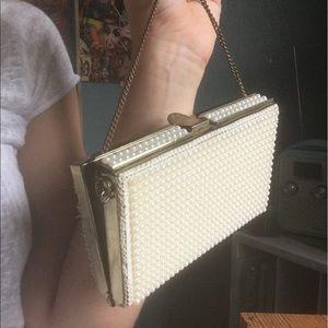 Vintage pearl-beaded clutch